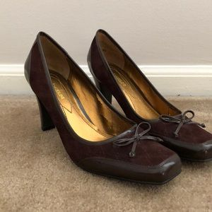 Enzo suede/patent leather pumps